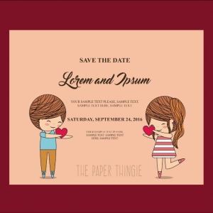 Couple cartoon icon. Invitation and save the date design. Vector